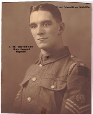 "Ernest Edward Bryan, King's Liverpool Regiment, 17th Battalion, ""C"" Company, Lewis Gun #1, Company Sergeant Major"