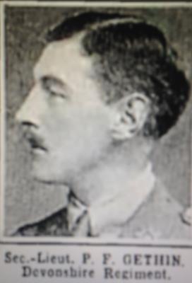 Percy Francis Gethin, Second Lieutenant