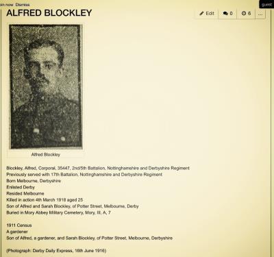 Alfred Blockley, Derby Nottingham  regiment   17th battalion Corporal