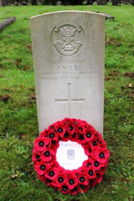 Joseph  Viles, 7297 Private, Somerset Light Infantry, Died 4th Aug 1914, aged 27