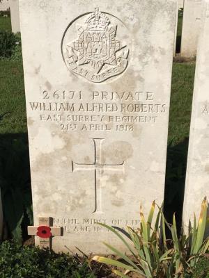 William Alfred Roberts, Private. Ist Bn East Surrey Regiment