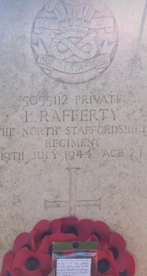 Lawrence  Rafferty , Private North Staffs Regiment