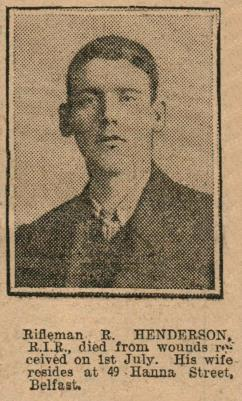 Robert  Henderson, Rifleman, 15th Battalion, Royal Irish Rifles