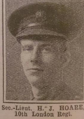 Henry Joseph  Hoare, 2nd leutentent london reg