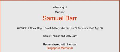 Samuel  Barr, Royal Artillery, 7th Costal Regiment