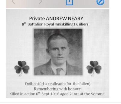 Andrew Neary, Private Neary, Royal Inniskilling Fusiliers.