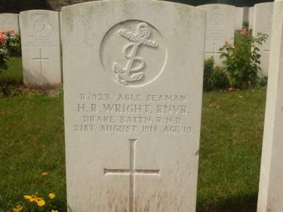 Harry Reginald Wright, Able Seaman RNVR , Drake Battalion Royal Naval Division