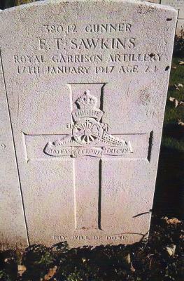 Edward Sawkins, Gunner 38042, 2nd Siege Bty., Royal Garrison Artillery.