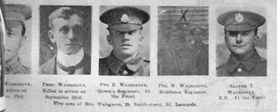 Fredrick Walsgrove, Private 13th Battalion (Southdowns), Royal Sussex Regiment