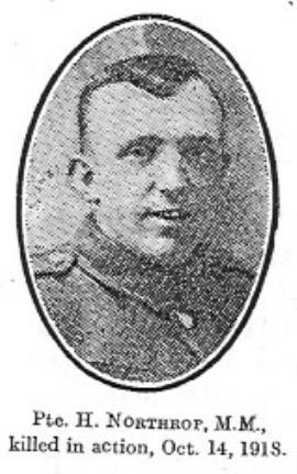 Herbert Northrop, Private 1st 6th Battalion Cheshire Regiment. Regimental number 13029