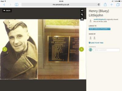 Henry (Bluey) Littlejohn, Gunner Royal Artillery